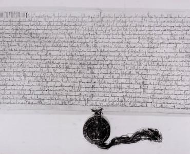 Faksimile panovnické listiny Václava I. z roku 1233 obsahující první zmínku o Roztokách