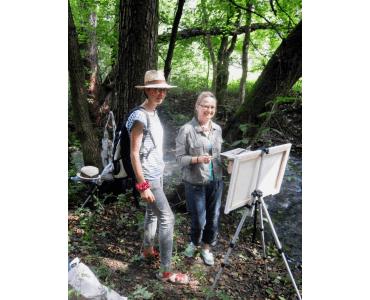 Malířský plenér (Adéla Karger – vlevo s jednou z účastnic)