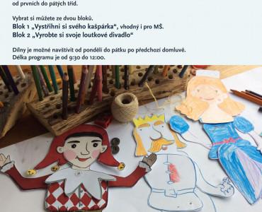 Výtvarná dílna k výstavě Kašpárkův svět ve Středočeském muzeu v Roztokách u Prahy.