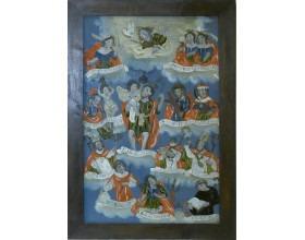 Čtrnáct svatých pomocníků, podmalba na skle (v nepůvodní liště), severovýchodní Čechy – Kladsko, kolem r. 1800, 53,8 x 37,4 cm.