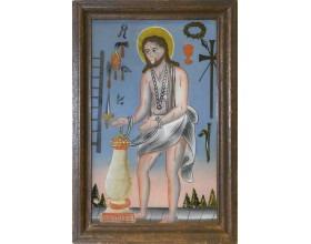 Kristus z Wies, podmalba na skle, severočeská sklářská oblast (Jablonecko), 1. polovina 19. století, 32,5 x 22,5 cm.