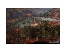 Obraz - detail D. J. Kotully zroku 1840: Pohled na Roztoky
