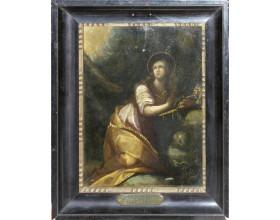 Kající se Maří Magdaléna, olej na mědi, počátek 17. století, Sprangerův okruh, 23,8 x 18 cm.