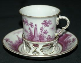 """Koflík s miskou """"trembleuse"""" na čokoládu, porcelán, značený, 3. čtvrtina 18. století, Φ 7 cm."""