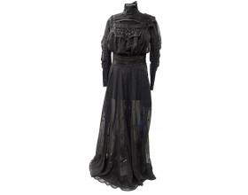 Dámské společenské šaty, mušelín, krajka, výšivka, Evropa, kolem 1905.